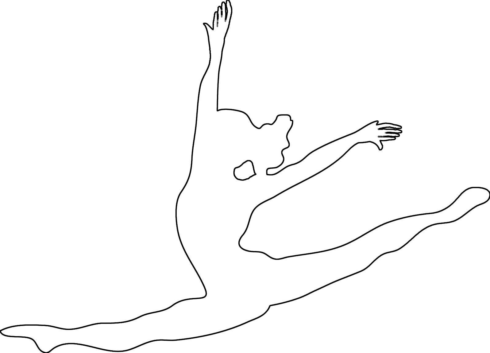 Раскраски контуры балерина в полете контур для вырезания из бумаги