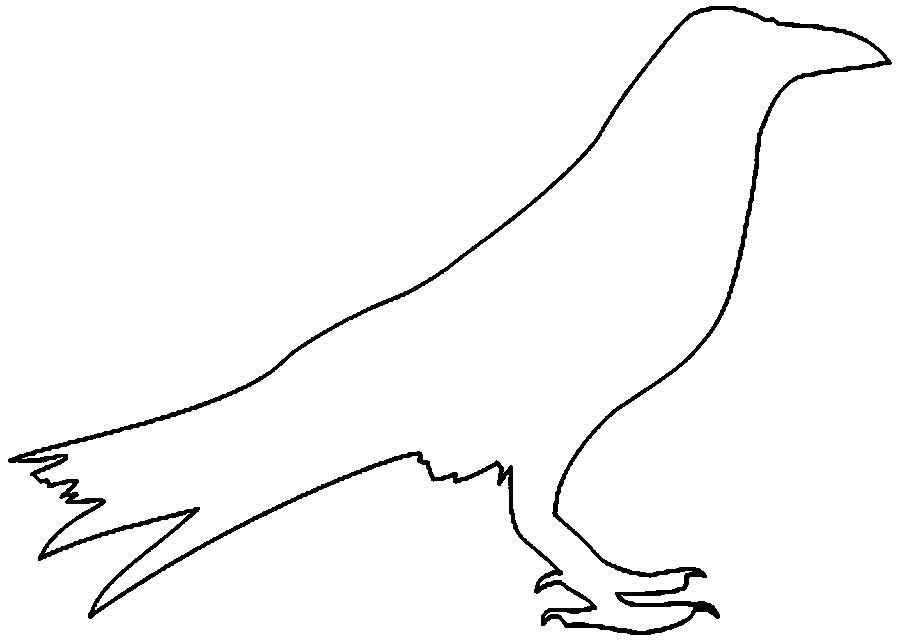 Раскраски контуры ворон контур, птица контур для вырезания из бумаги