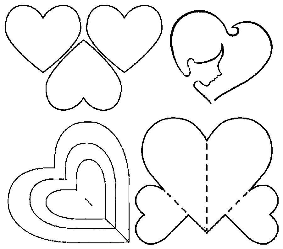 Раскраски контуры сердца шаблоны из бумаги