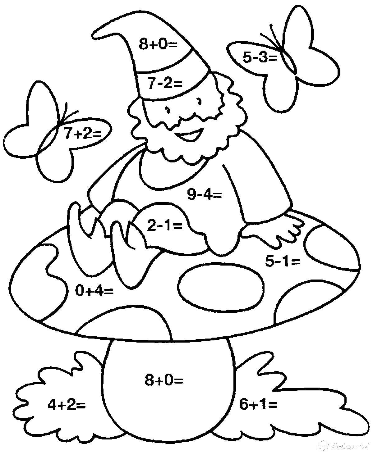 Раскраски бабочки гномик сидит на грибе, летают бабочки, математическая раскраска
