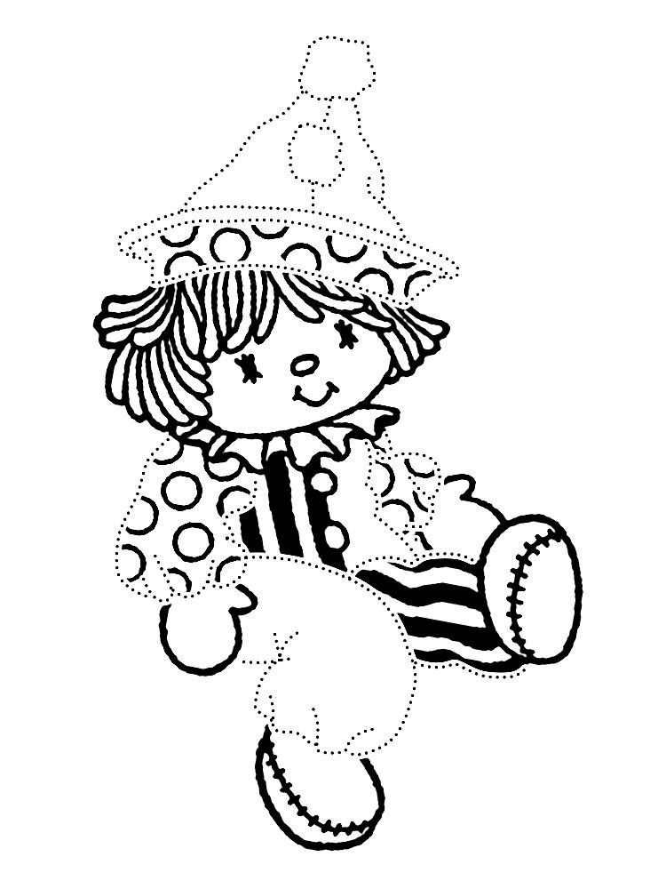Скачать или распечатать раскраски с куклами для мальчиков. обведи контуры по точкам и раскрась куклу клоуна.