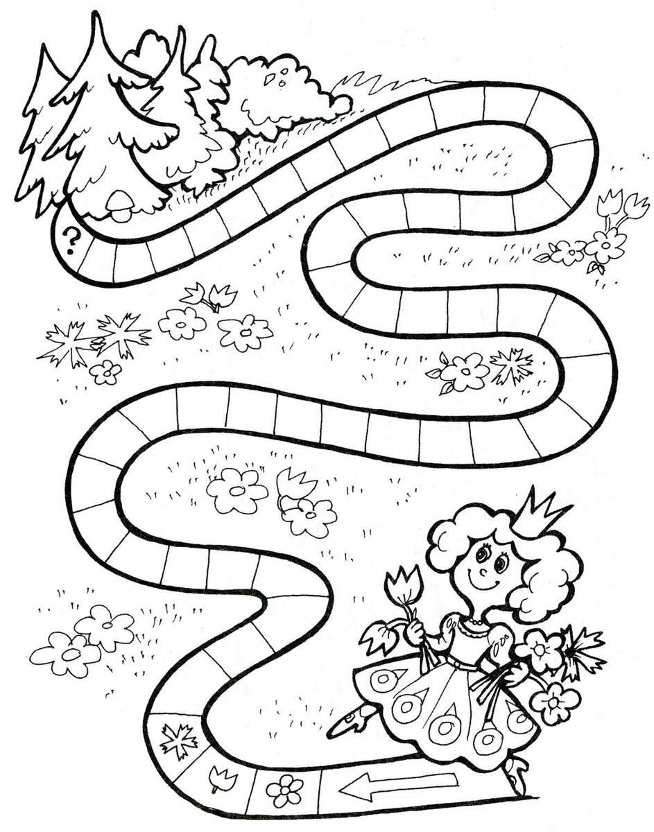 Раскраска цветочная дорожка