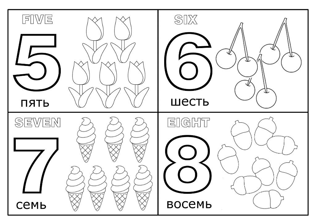 Раскраски обучающие раскраски цифра, учим цифры