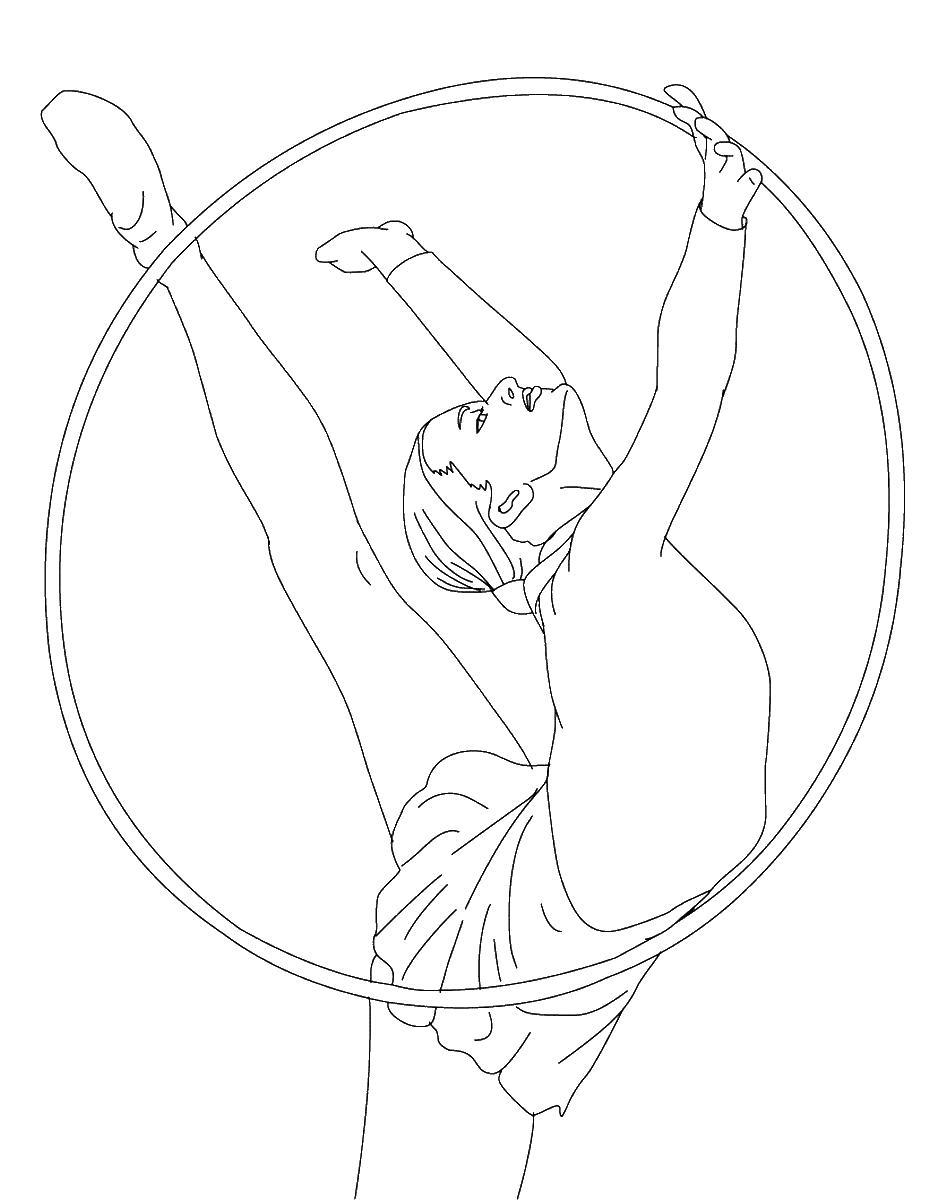 Раскраска художественная гимнастика. упражнение с обручем. раскраска раскраска гимнастка, раскраска вид спорт, раскраска спорт для детей, раскраска спорт распечатать