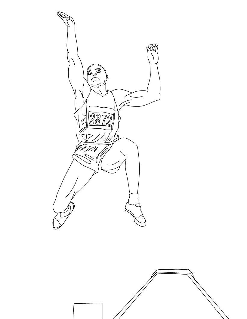 Раскраска легкая атлетика. прыжки в длину. раскраска раскраска спорт, раскраска летние виды спорта, раскраска олимпийский вид спорта, раскраска легкая атлетика. раскраски вид спорта