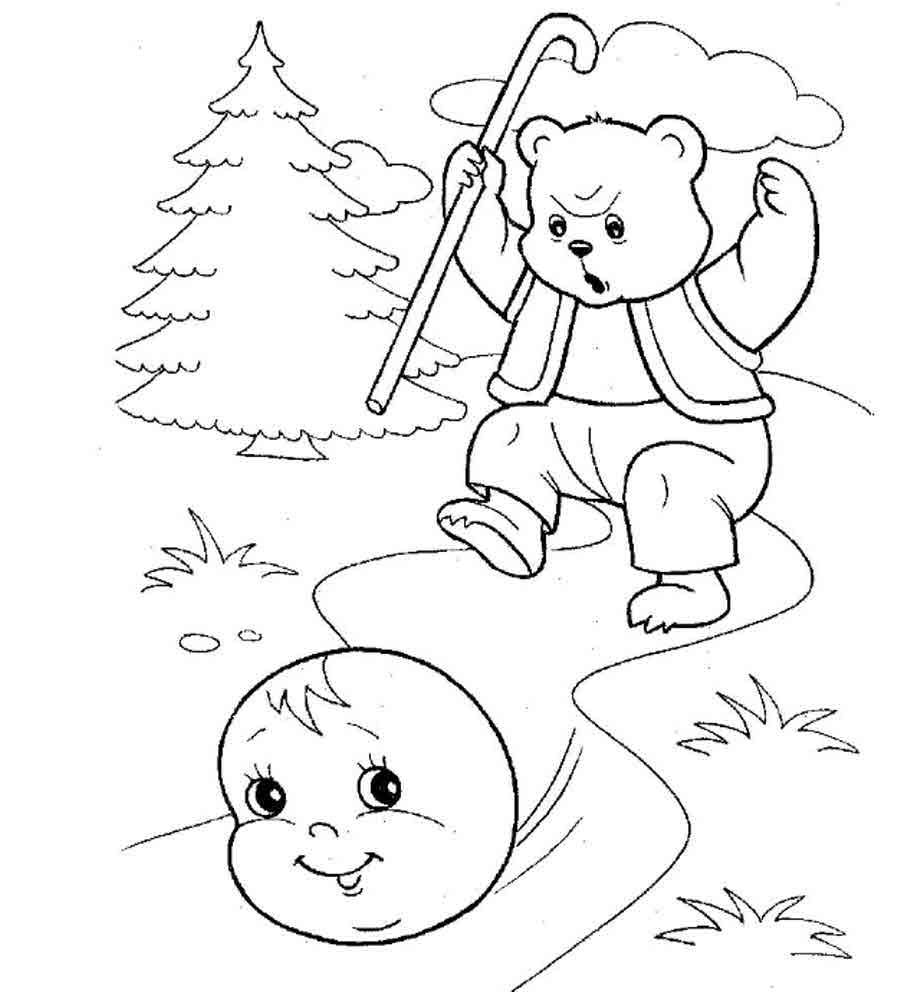 Русские народные сказки и  раскраски - колобок
