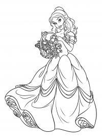 Раскраска белль с корзиной цветов. раскраска принцесса дисней белль раскраска, раскраска белль распечатать, раскраски для девочек