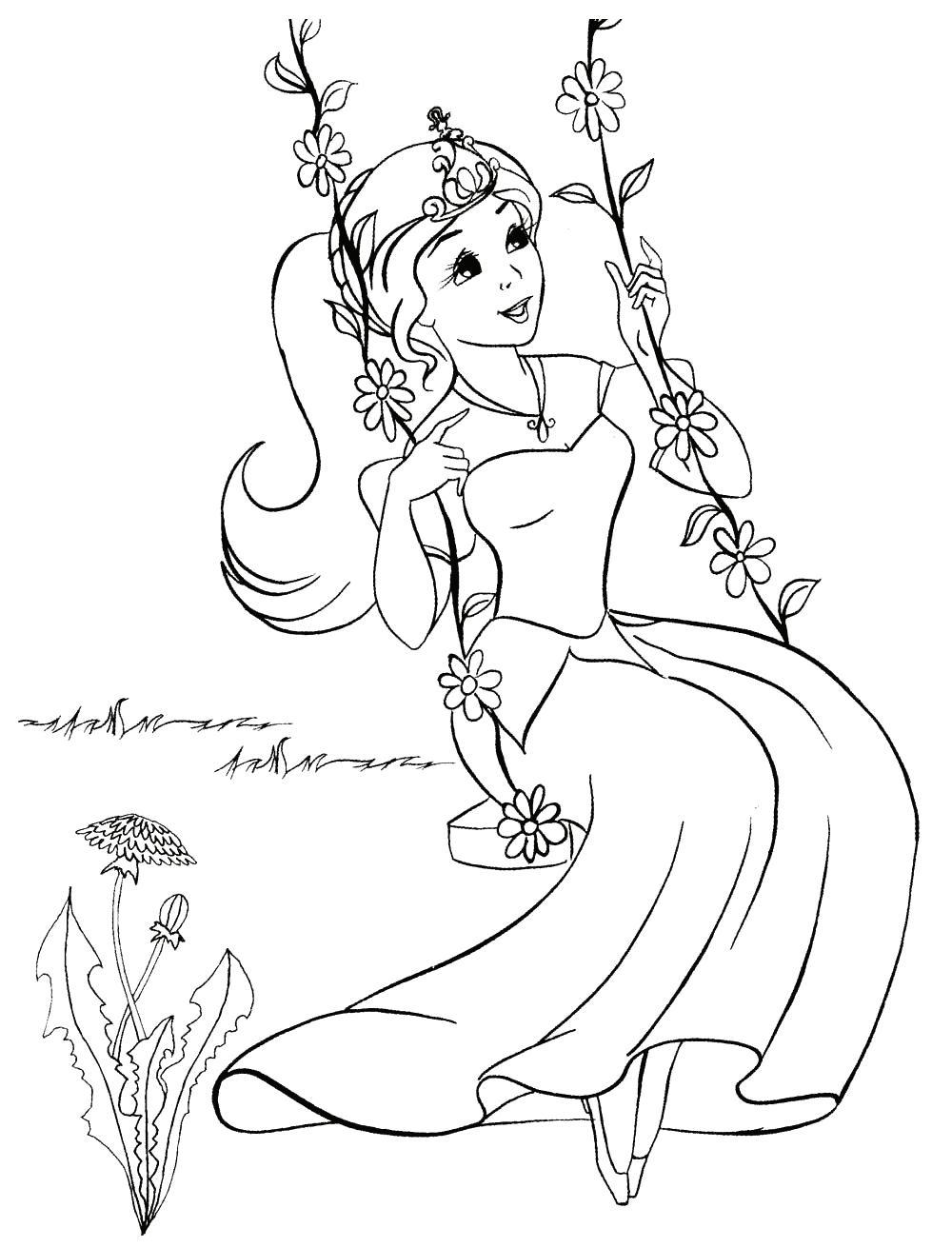 Раскраска принцесса на качелях. раскраска принцесса катается на качелях, раскраски принцесс для детей скачать бесплатно