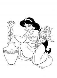 Раскраска принцесса жасмин. раскраска принцессы дисней раскраски распечатать, принцессы дисней раскраски для девочек