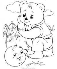 Раскраски раскраски к сказке колобок от тебя, медведь, подавно уйду, катится колобок, навстречу ему медведь