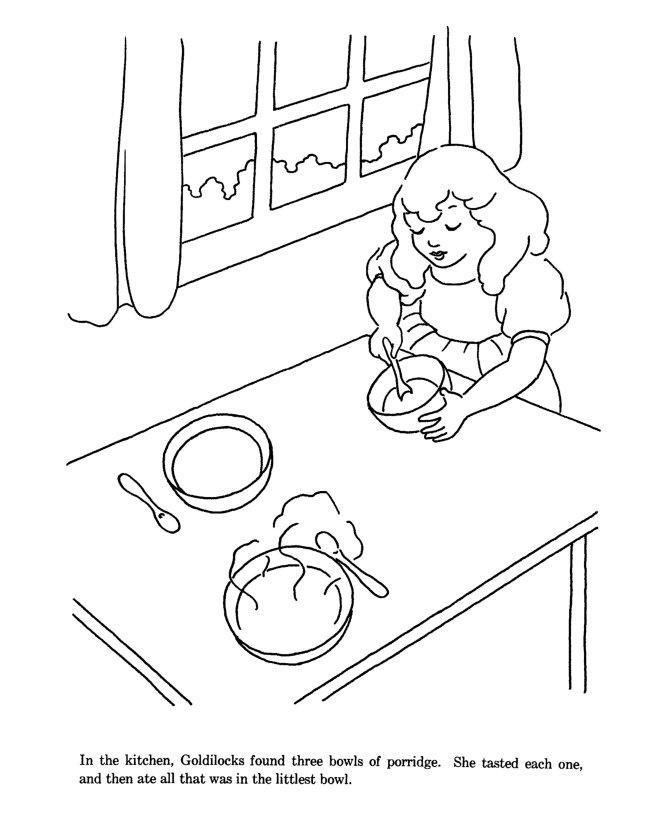 Раскраски раскраски для детей по сказкам девочка на кухни за столом что то готовит