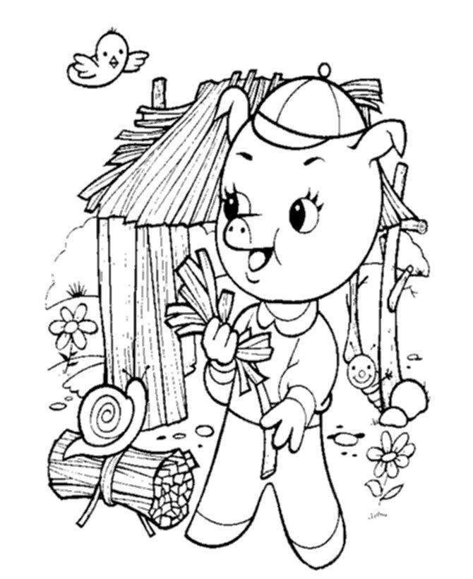 Раскраски раскраски для детей по сказкам поросенок пяточек строит себе домик из хвороста