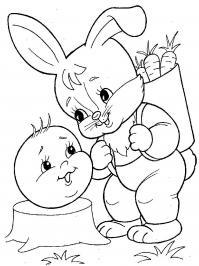 Раскраски раскраски к сказке колобок заец, колобок и заец, колобок с зайцем
