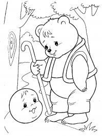 Раскраски раскраски к сказке колобок колобок, мишка, медведь, колобок и медведь