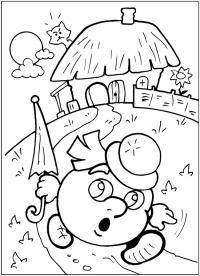 Раскраски раскраски для детей по сказкам колобок бежит голопом от домика держа в руках зонтик