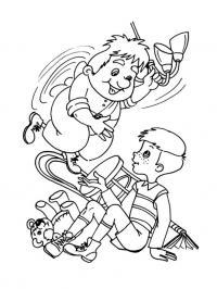 Раскраски раскраски для детей по сказкам карлсон играет с мальчиком ухватившись за люстру на потолке