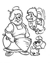 Раскраски раскраски для детей по сказкам бабушка с метелкой увидела карлсона с пропеллером, а под ногами у нее щенок