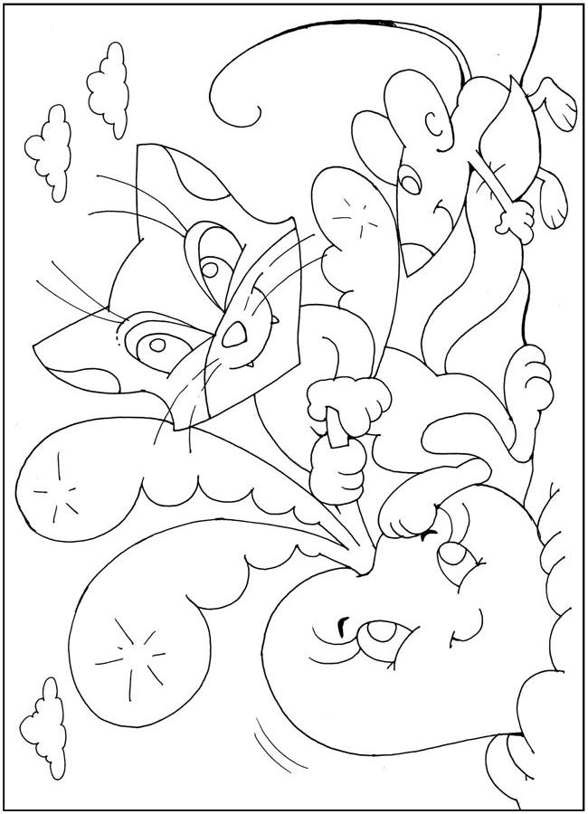 Раскраски сказкам репка кошка мышка, сказка про репку