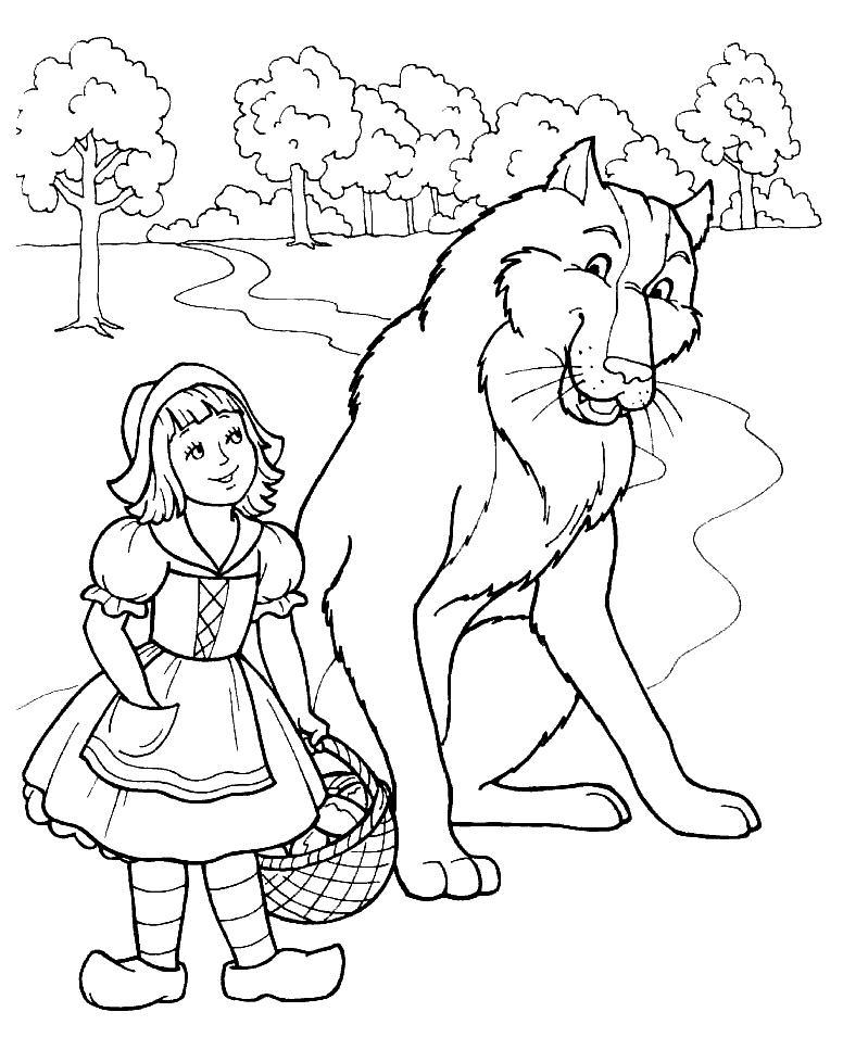 Раскраска красная шапочка и волк