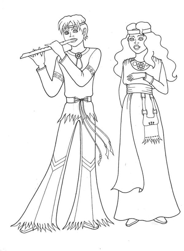 Игра на флейте - раскраски для девочек