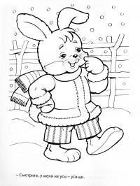 Раскраски идет зайчонок тепло одетый стоит на улице на снегу и идет снег