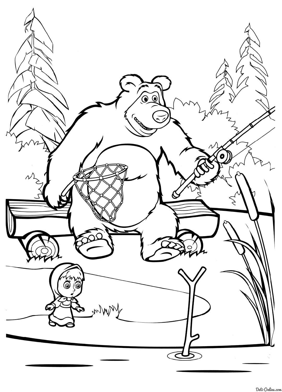 Раскраска маша и медведь на рыбалке