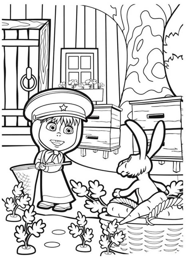 Раскраски маша и медведь и заяц