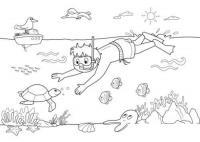 Раскраски озеро раскраска лето озеро водолаз черепаха кораблик