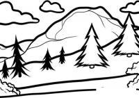 Раскраски фоне раскраска пейзаж елки на фоне гор,облака