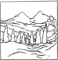 Раскраски фоне раскраска пейзаж на фоне гор,ель,горы,у подножья домик