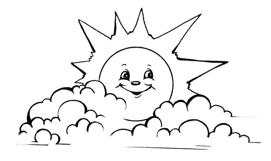 Солнце Раскраски лето солнце облака Раскраски распечатать