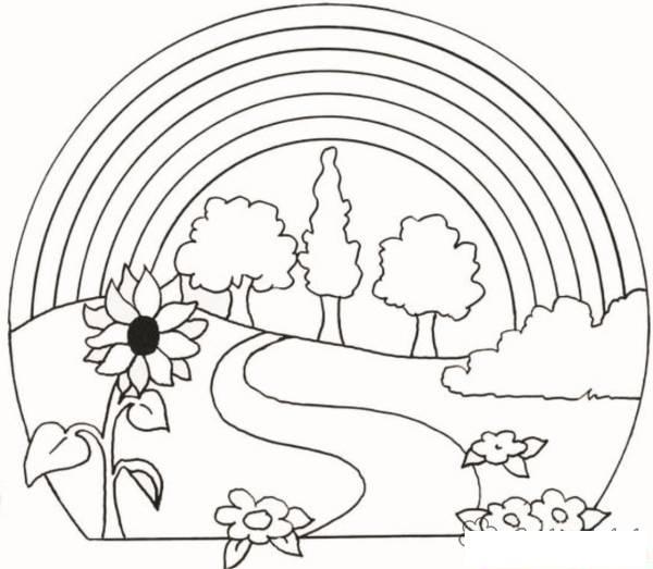Природа пейзаж раскраски 66