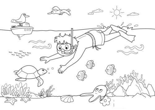 Раскраски года раскраска лето озеро водолаз черепаха кораблик