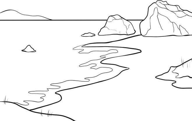 Раскраски лес и пейзажи раскраска пейзаж море,скалы,берег,камни