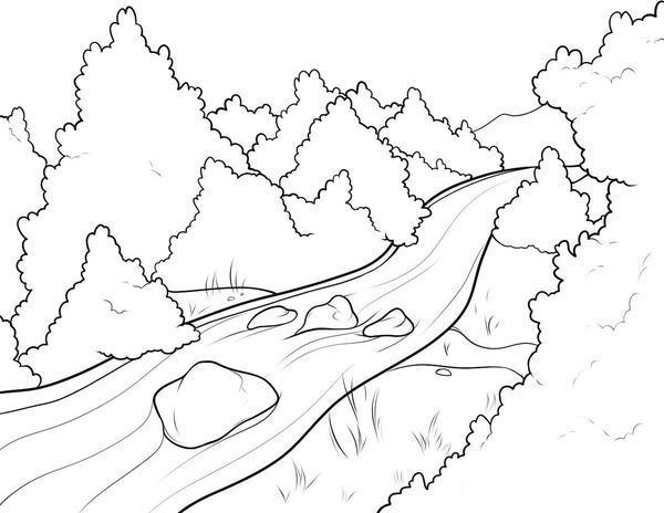 Раскраски лес и пейзажи раскраска пейзаж,лес,речка,камни в реке