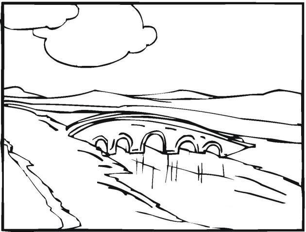 Раскраски лес и пейзажи раскраска пейзаж,мост через речку,облака