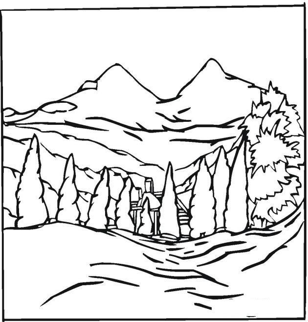 Раскраски лес и пейзажи раскраска пейзаж на фоне гор,ель,горы,у подножья домик