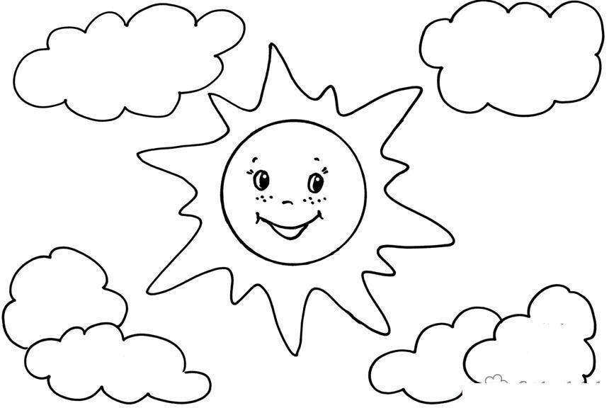 Солнце Раскраски года раскраска лето веселое,солнце,два облака Раскраски распечатать