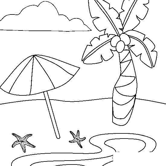 Раскраски года раскраска лето пляж,пальма,морская звезда
