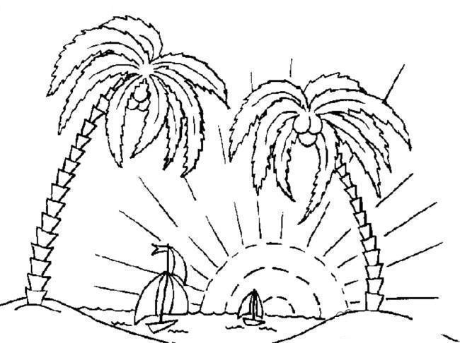 Море Раскраски года раскраска лето две пальмы солнце кораблики Раскраски распечатать