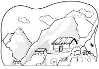 Раскраски лес раскраска пейзаж высокие горы,домики,скалы