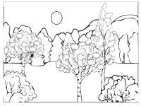 Раскраски лес детские раскраски, природа, отдых, отдых на природе, лес, горы, деревья