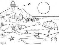 Раскраски пляж раскраска лето заход солнца пляж маяк машина