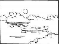 Раскраски пейзаж раскраска пейзаж речка,лодка с веслами,солнце