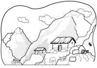 Раскраски пейзаж раскраска пейзаж высокие горы,домики,скалы