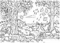 Раскраски пейзаж раскраска осенний пейзаж,птицы улетают,падают листья
