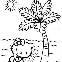 Раскраски года раскраска лето пляж котенок пальма солнце