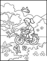 Раскраски года раскраска лето прогулка велосипед бабочки цветочки