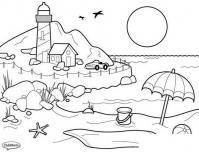 Раскраски года раскраска лето заход солнца пляж маяк машина