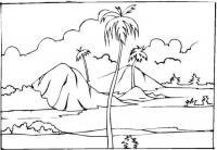 Раскраски лес и пейзажи раскраска пейзаж пальмы на фоне гор